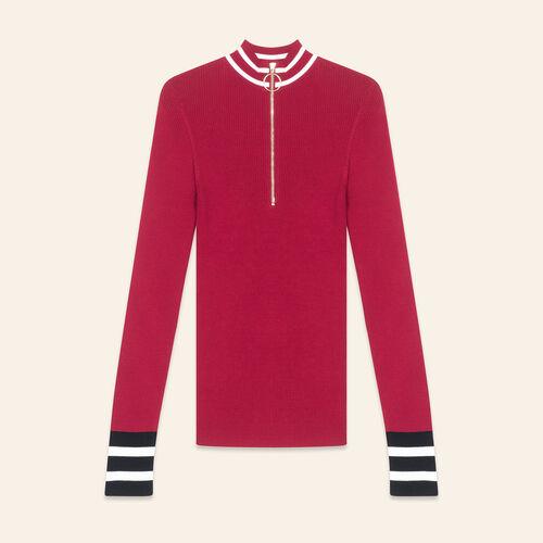 Fine knit zipped jumper : Knitwear color Burgundy