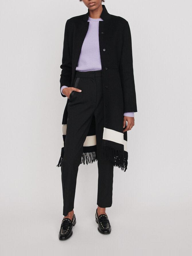 Double face coat with fringe - Coats & Jackets - MAJE