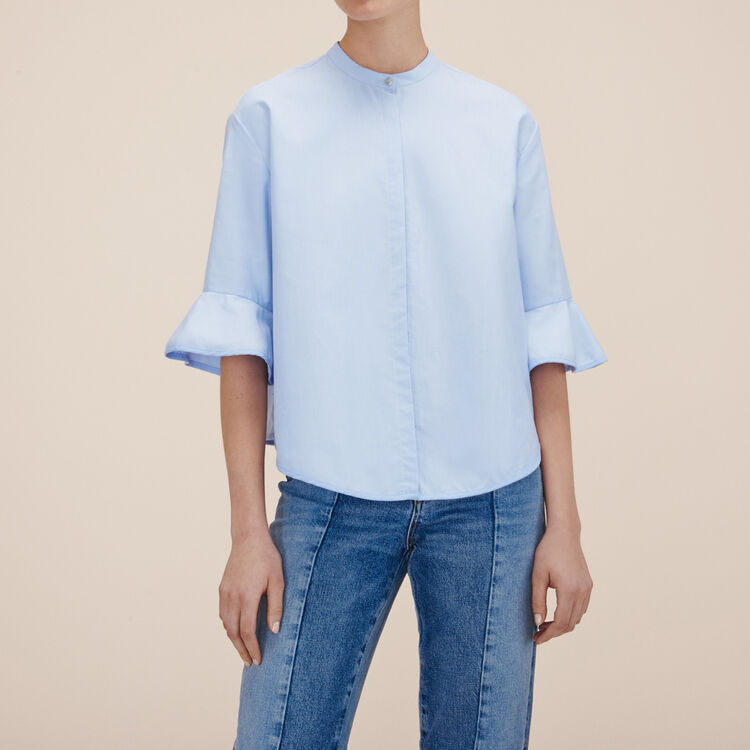 Striped poplin shirt : -30% color Blue Sky