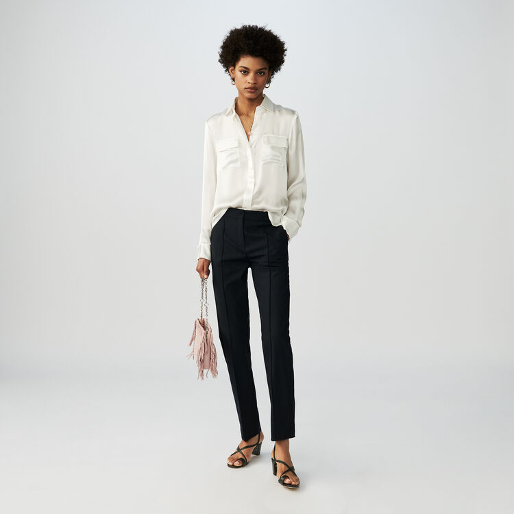 Draped silk blouse : Shirts color White