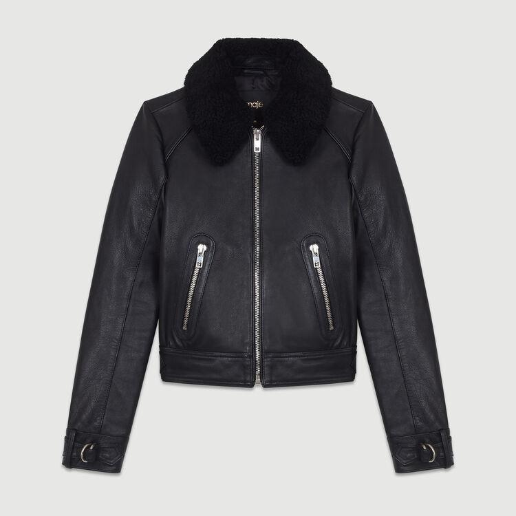 Leather jacket with sheepskin : Jackets color Black 210