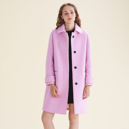 Straight-cut coat in virgin wool - Coats - MAJE