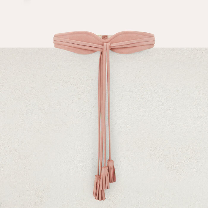 High-waisted suede belt with pompom ties : Belts color Pale Pink