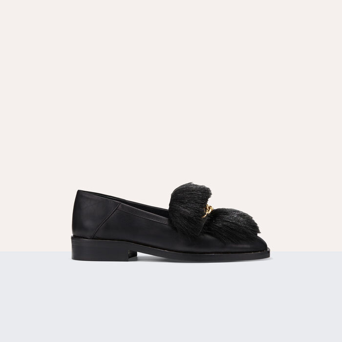 Leather loafers with detachable fur -  - MAJE