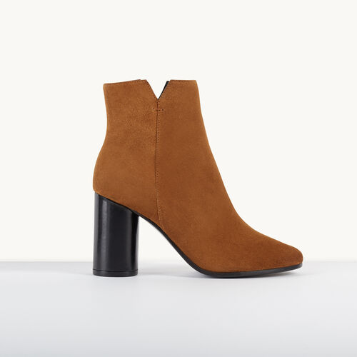 Suede high-heeled ankle boots : Accessories color Camel