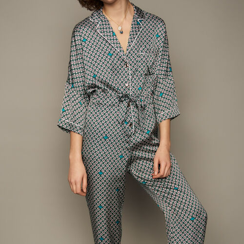 Printed satin jumpsuit : Trousers & Jeans color PRINTED