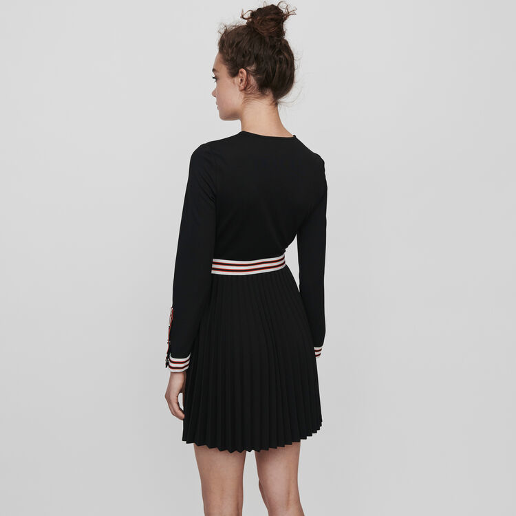 Pleated dress with contrasting stripes : Winter collection color Black