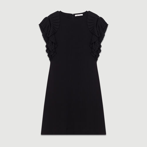 Straight cut dress with pleated sleeves : Dresses color Black 210
