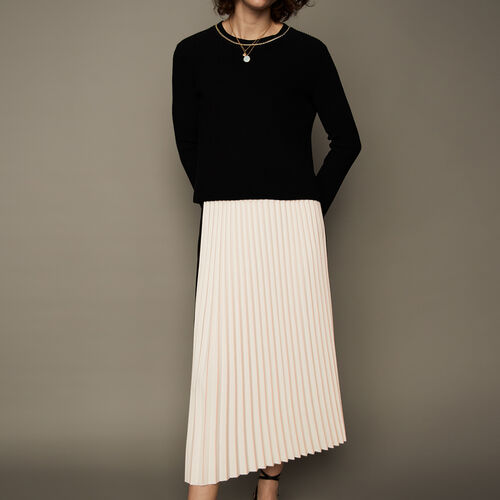 Pleated two-tone maxi skirt : See all color ECRU