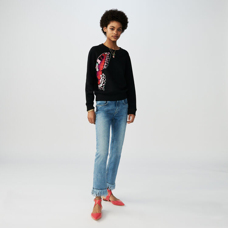 Cotton embroidered sweatshirt : Knitwear color Black 210