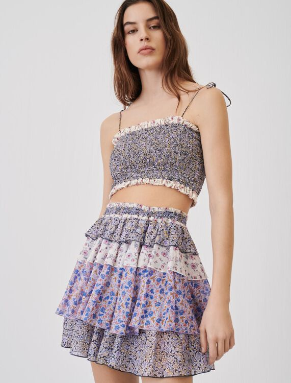 Printed cotton voile skirt with ruffles - Skirts & Shorts - MAJE