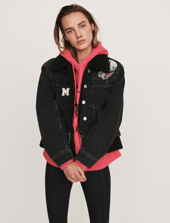 Jean jacket with embroidered patches -  - MAJE