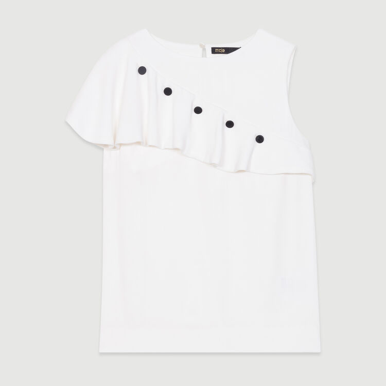 Sleeveless top with ruffle : New Collection color White