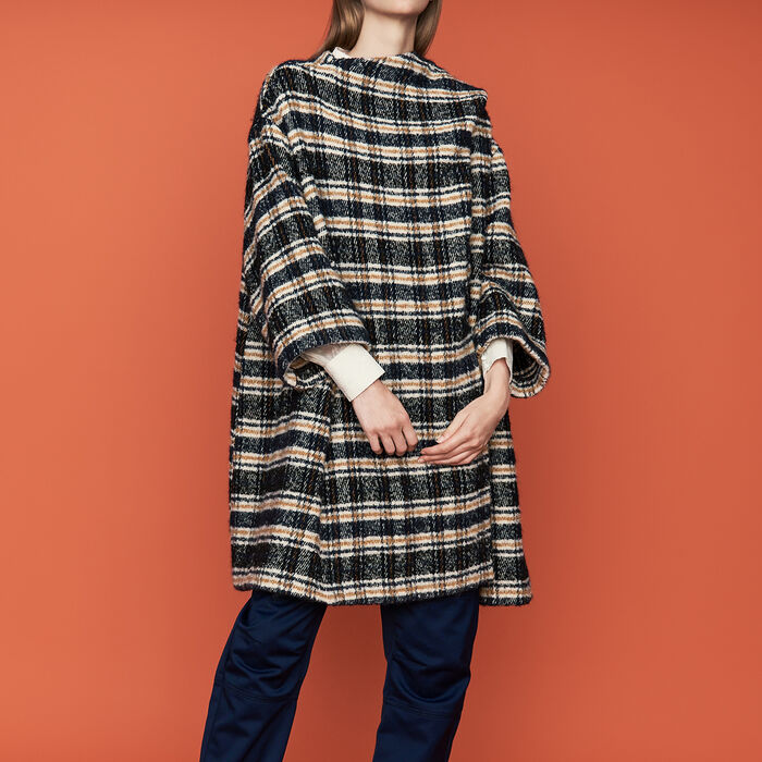 Poncho-style coat in tartan : Coats color CARREAUX