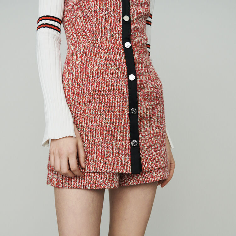 Tweed-style trompe l'oeil dress : Dresses color Red