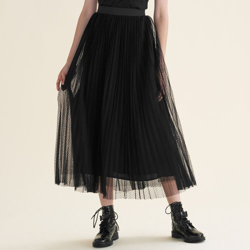 Long dotted Swiss tulle pleated skirt : Skirts & Shorts color Black 210
