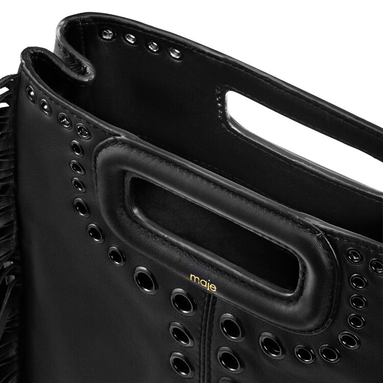 Leather M bag with eyelets and fringing : M bags color Black 210