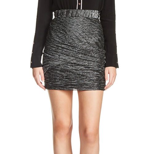 Short lurex skirt with draped effect : Skirts & Shorts color Black 210