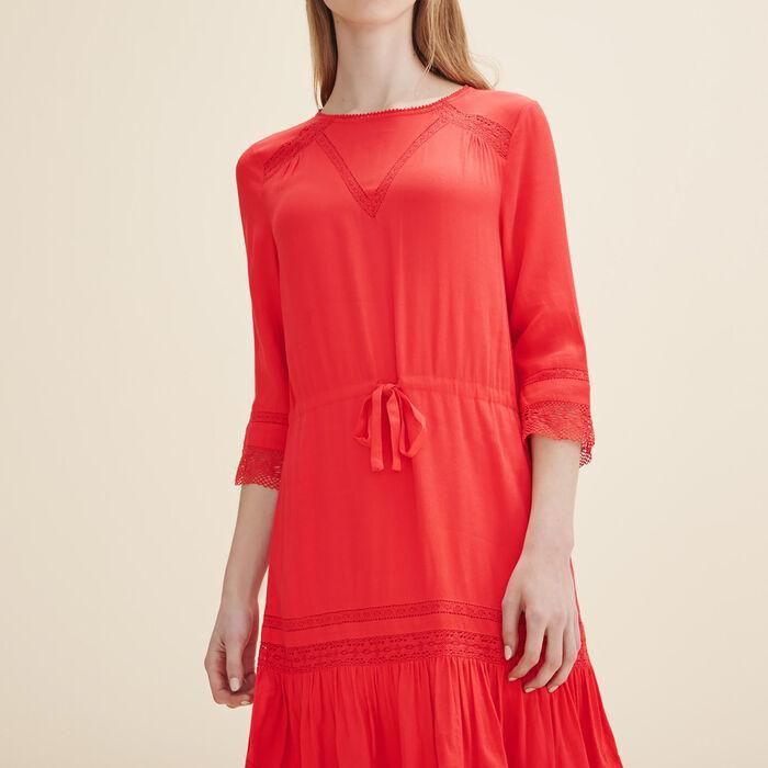 Floaty dress with lace -  - MAJE