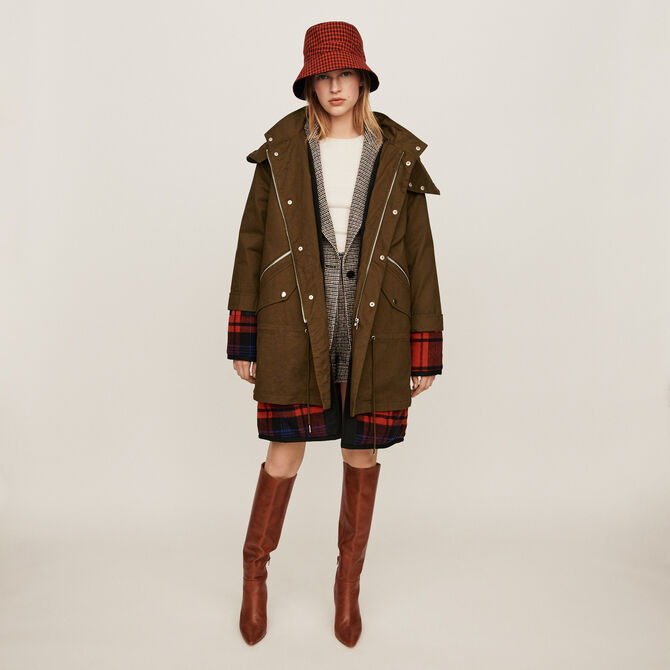 Trompe-l'oeil parka with oversized hood - staff private sale 20 - MAJE