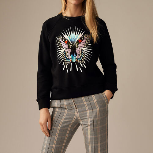 Sweatshirt with embroidered butterfly : Knitwear color Black 210