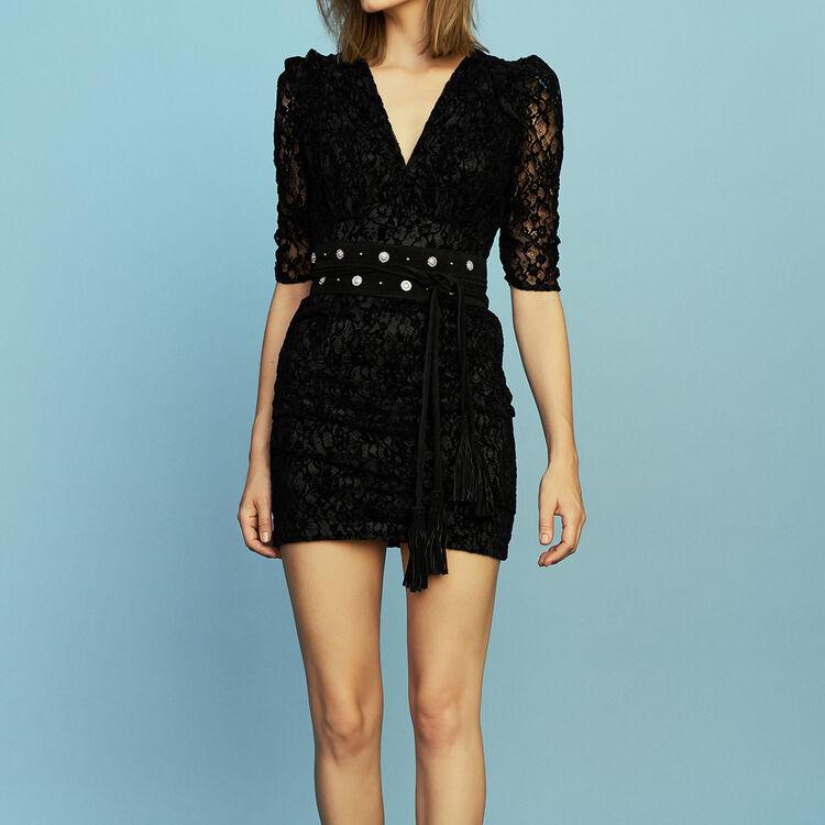 Lace dress with velvet : Dresses color Black 210