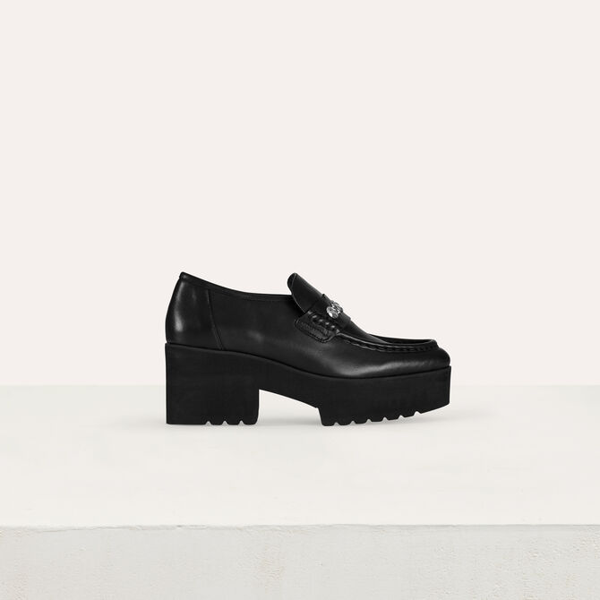 Platform loafers in leather and studs -  - MAJE