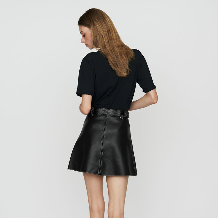 Leather A-line skirt : Office girl color Black 210
