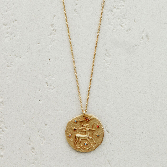 Sagittarius zodiac sign necklace : See all color GOLD