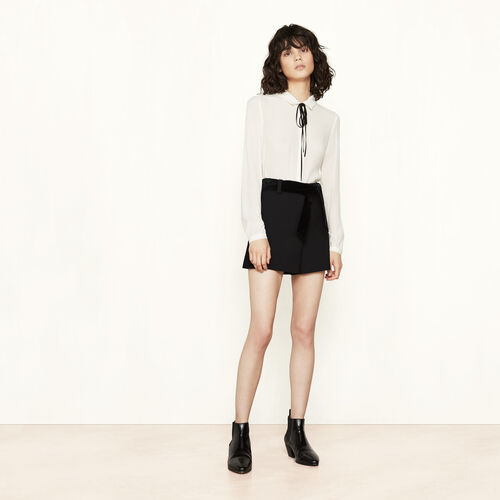 Short crêpe shorts with belt - Mid Season Sales - MAJE