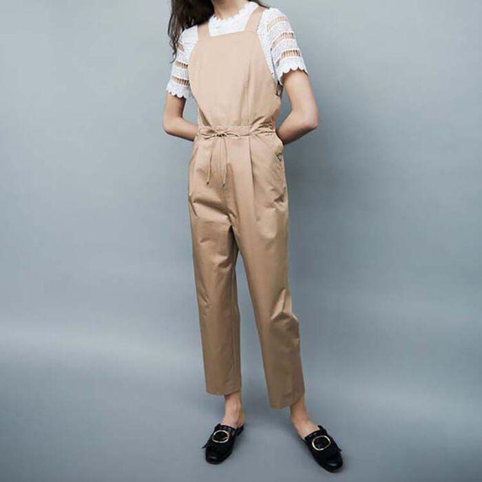 Cotton canvas overalls : Trousers color Beige