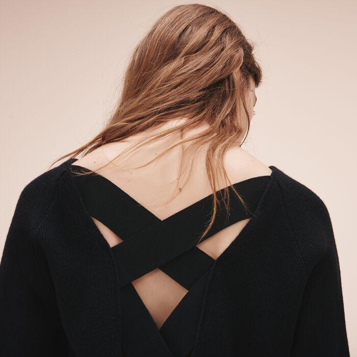 Ribbed knit jumper with detailed back - Letzte Grössen - MAJE
