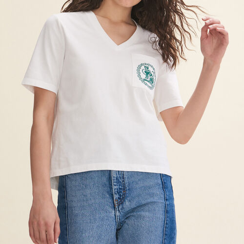 Embroidered cotton T-shirt : T-Shirts color Ecru