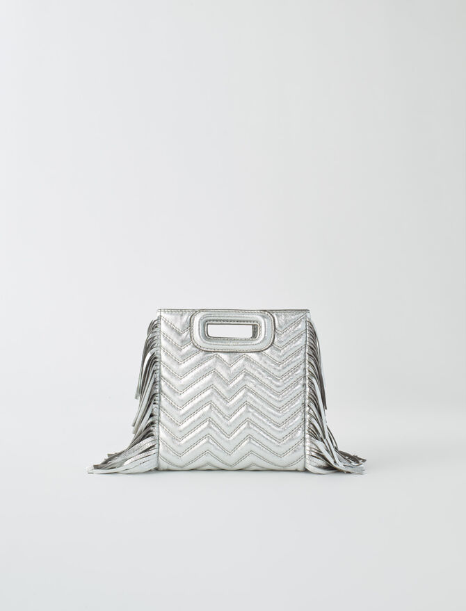 Silver quilted leather M bag -  - MAJE