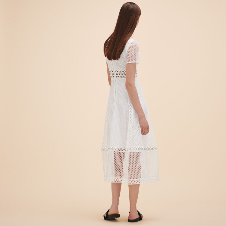 Long embroidered dress : Dresses color White