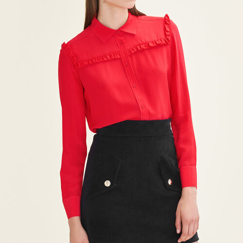 Frilled silk shirt : Tops color Red