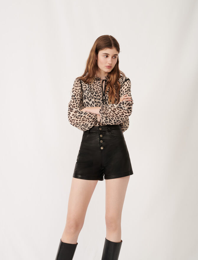 Leather shorts with button details - Eco-friendly - MAJE