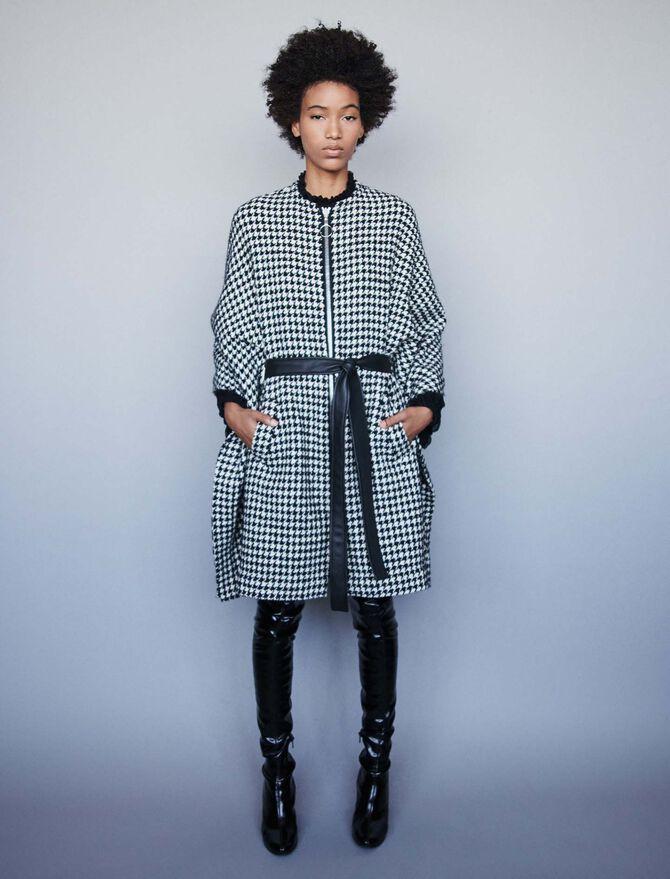 Houndstooth cape-style coat - Coats & Jackets - MAJE