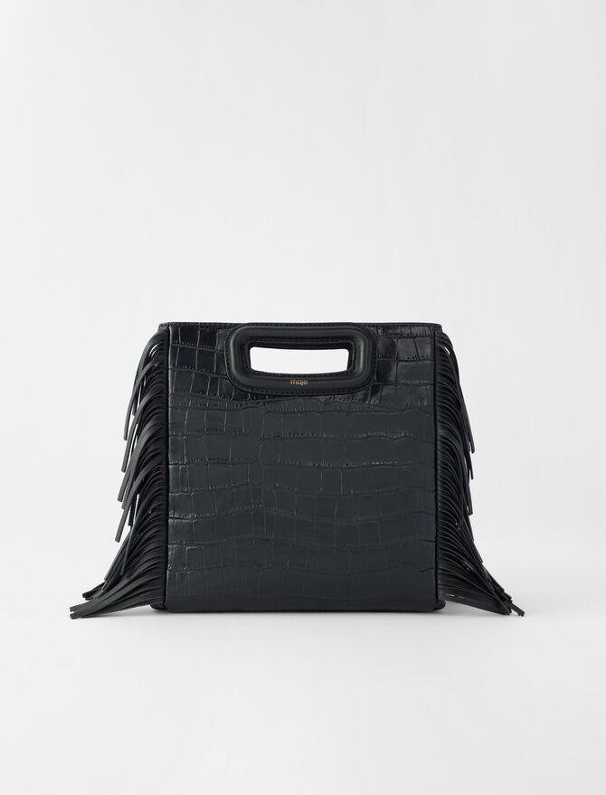 Crocodile-effect embossed leather M bag -  - MAJE