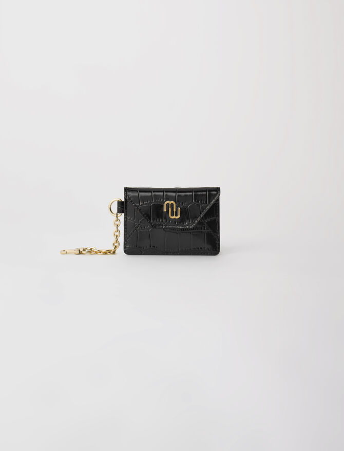 Croc-effect embossed leather card holder -  - MAJE