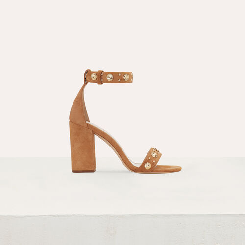 Suede heeled sandals : Slipper color Camel