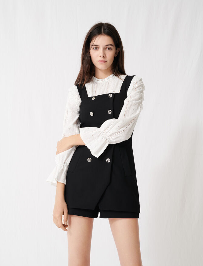 Buttoned playsuit with straps - Skirts & Shorts - MAJE