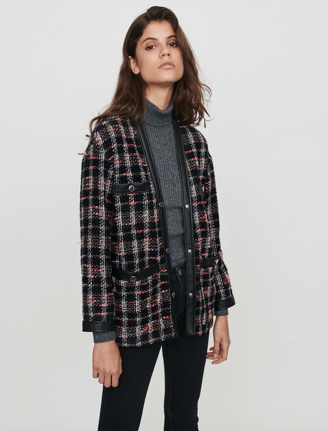 Tweed-syle contrast jacket - Best Sellers - MAJE