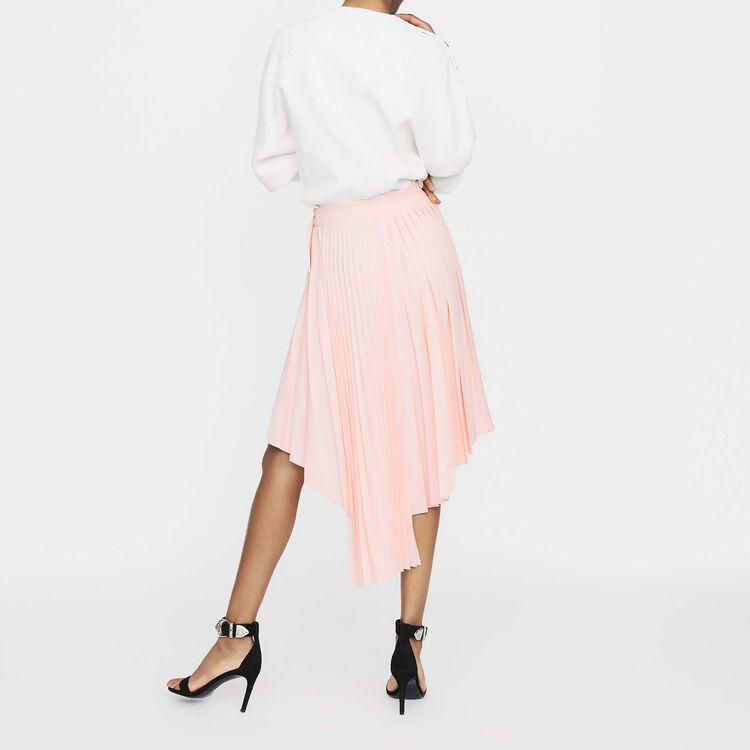Asymmetric pleated skirt : New collection color PECHE