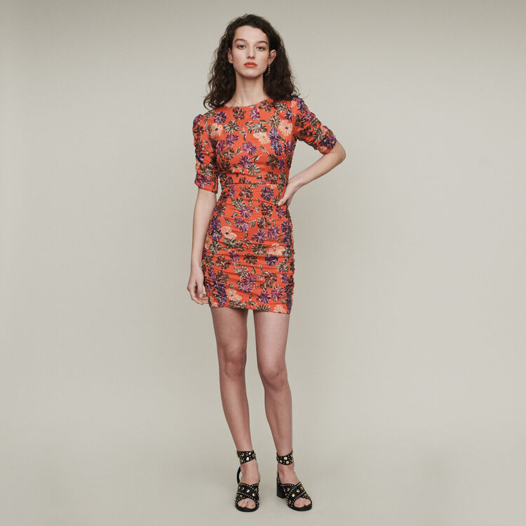 Sequin embroidered dress : Dresses color Coral