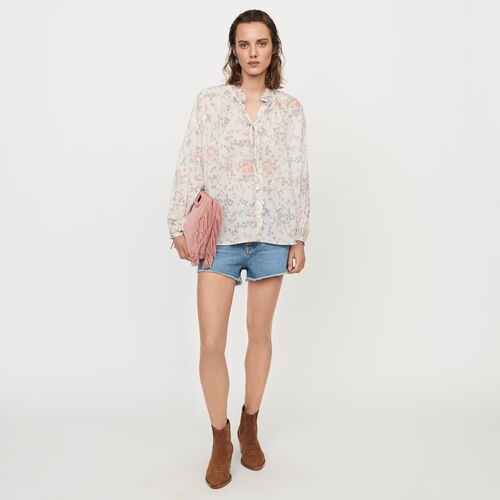 Floral-print cotton voile shirt : Tops & Shirts color Pink