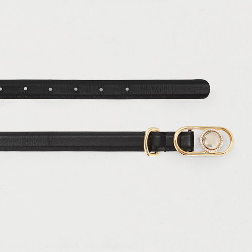 Waistbelt in leather with buckle : Belts color Black 210