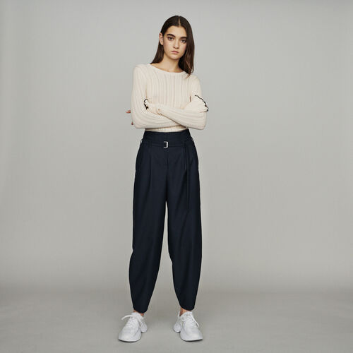 Wide-leg pants with tight ankles : Trousers & Jeans color Navy