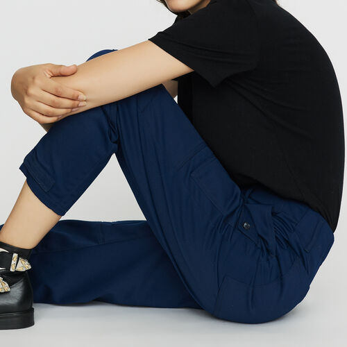 Worker-style wide pants : Trousers color Blue