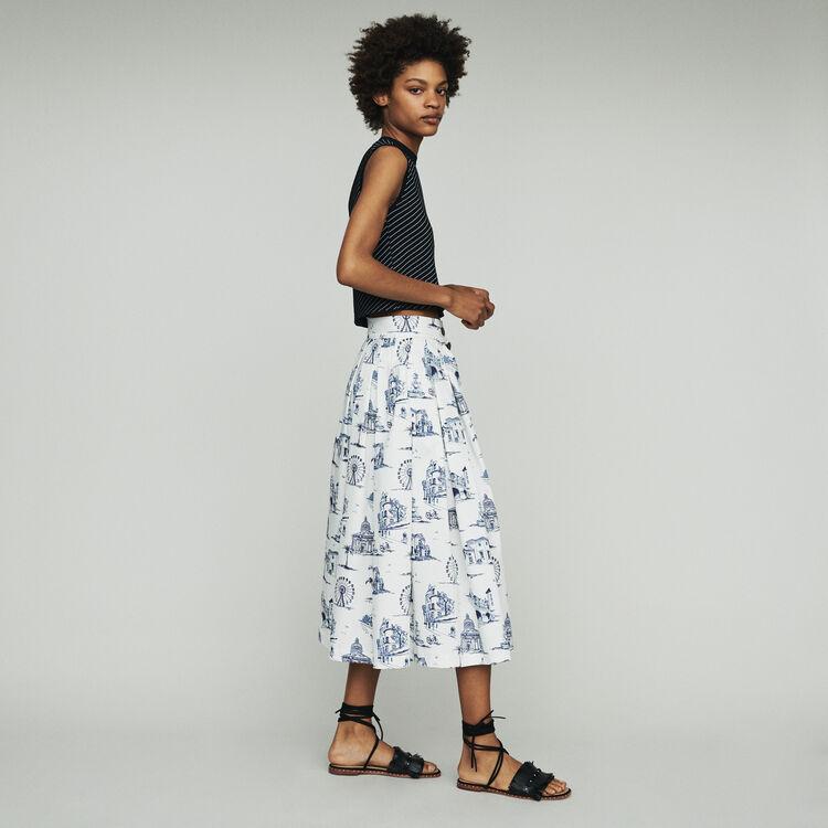 Midi skirt with Paris print : Skirts & Shorts color Ecru